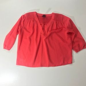 Ann Taylor Coral Short Sleeve Top V Neck Size MP
